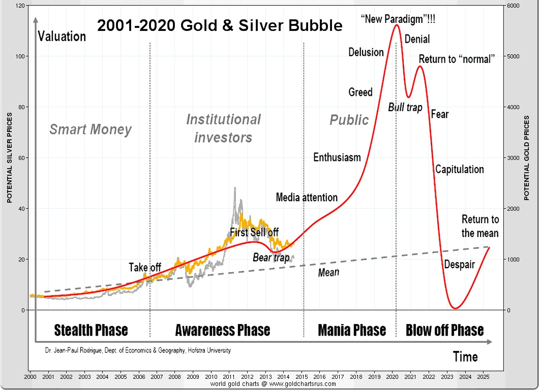 2001 2020 Gold Silver Bubble